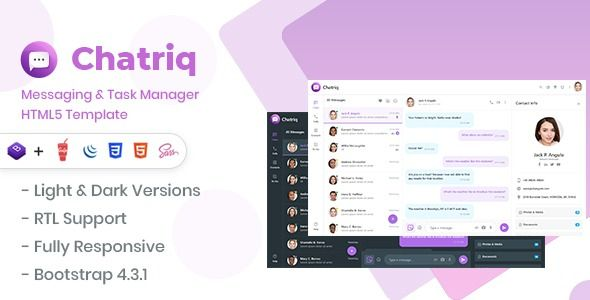 Chatriq Messaging Taskmanager Template The Ultimate Bootstrap Based Messaging Framework To Help Build Messagi Html5 Templates Website Template Templates