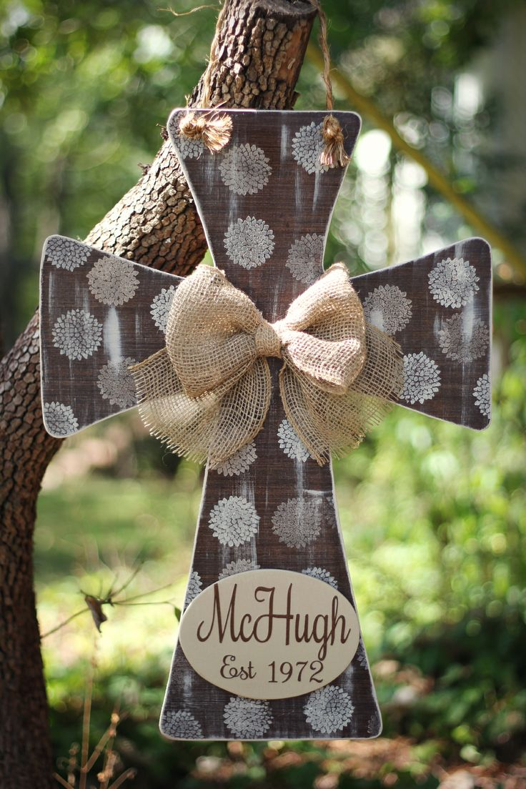 Personalized wooden cross door hanger with burlap bow