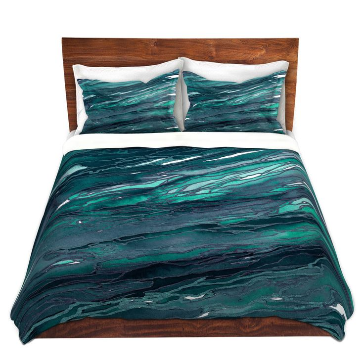 Unique Duvet Covers and Shams | Julia Di Sano - Agate Magic Dark Teal