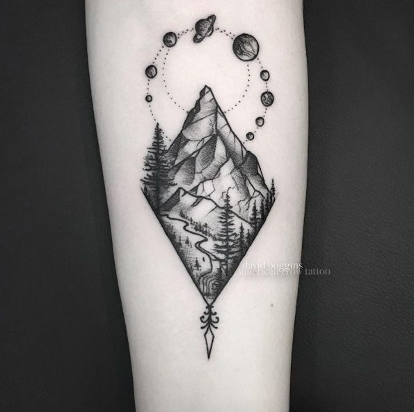 Awesome Geometric Tattoo Black And Grey Ink Mountain Tattoo By David Boggins Mountain Tattoo Tattoos For Daughters Geometric Tattoo
