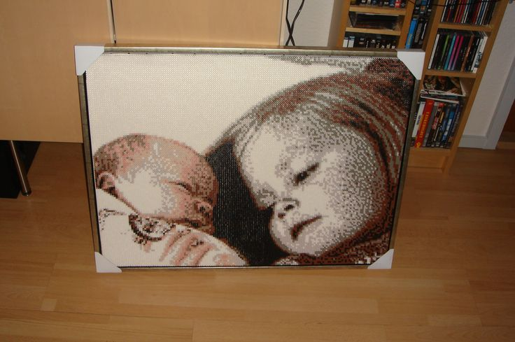 This Picture am i especialy proud of. 60*80 cm. The girl is made from a variation of Black and White. The boy is made with more warm colours. A big project for our friends.