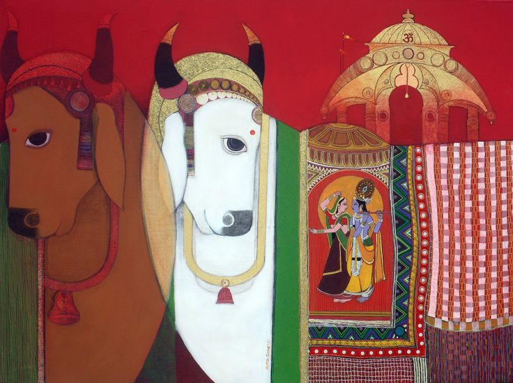 Cows with Lord Krishna's Temple by Ashok Rathod! #Art #Paintings #IndianArt #IndianPaintings #ReligiousArt #LordKrishna