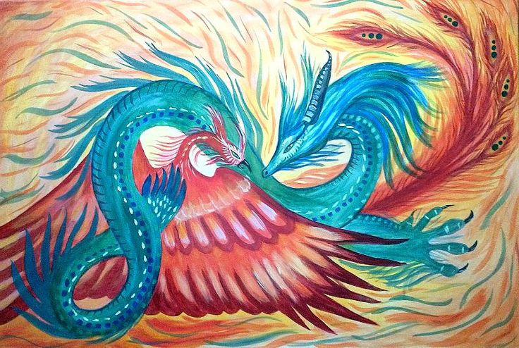 "Dragon-Phoenix  - 24""x36"" - original acrylic on canvas - ready-to-hang by SoniaFineArtist on Etsy"