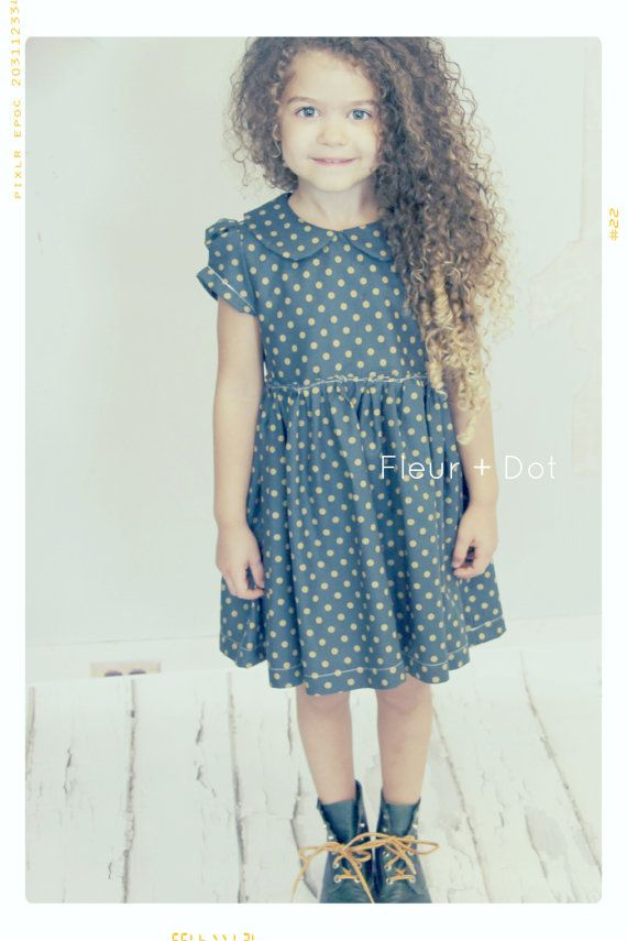 The Good Golly Peter Pan Collar Dress in Navy with by FleurandDot