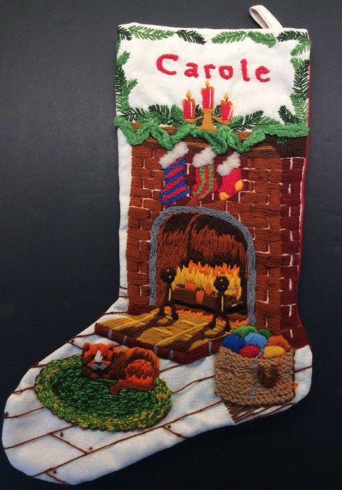 Carole Personalized Crewel Christmas Stocking Fireside Vtg