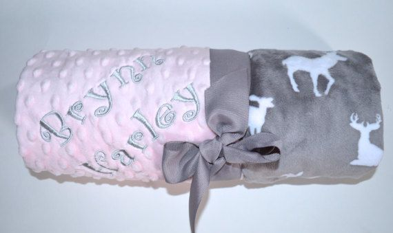 Monogrammed Baby Blanket  - Deer Minky Gray and Pink Personalized, Soft Baby blanket with name, birth stats, Woodland