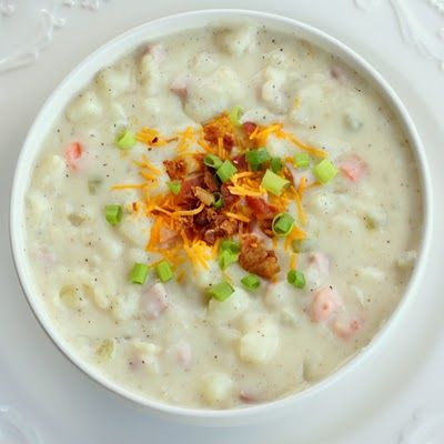 Creamy potato and ham soup. Just made this and it isn't as thick as a chowder but it as really yummy! JMMS