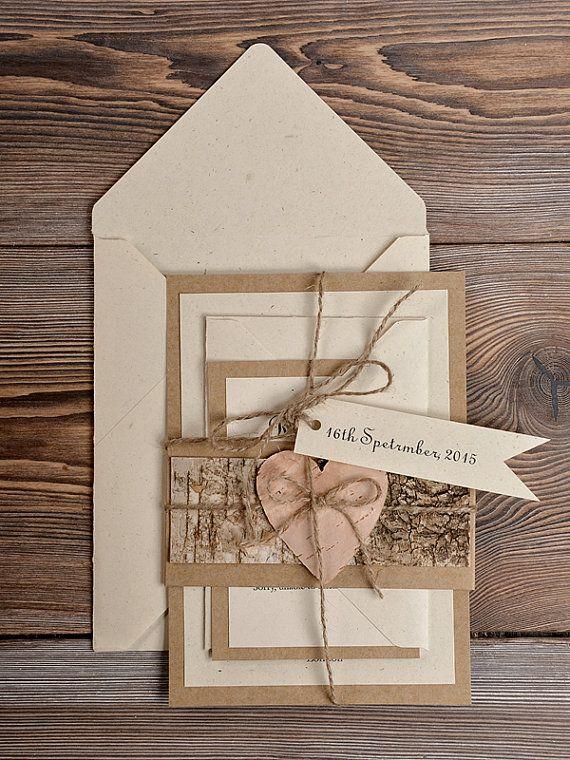 Birch Bark Invitation,  Eco  Recycling Paper  Wedding Invitation, County Style Wedding Invitations,  Rustic Wedding   Invitations
