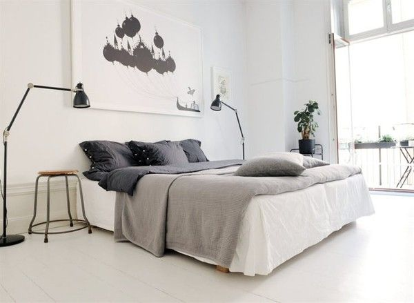 Bedroom Extraordinary Modern Bedroom Design Ideas With Black Pillow White Bed Brown Bed Covers Glass Door Chair Picture On The White Wall White Ceramic