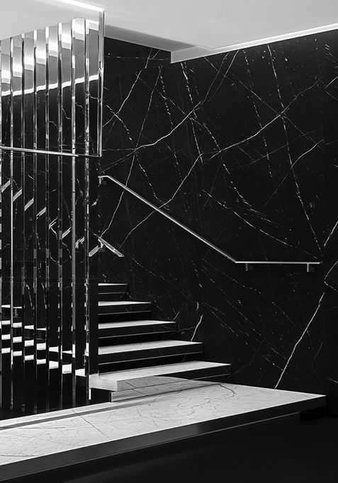 | STAIRS | Saint Laurent Paris store design by Hedi Slimane. Love the mirror side panel detail on each stair.