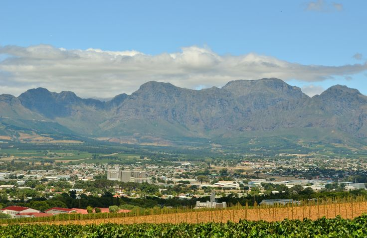 Paarl as seen from Blacksmith's Kitchen against #Paarl Mountain (located on Pearl Mountain farm).