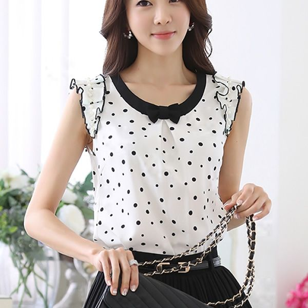 Blusa de Chiffon das mulheres verão feminino mulheres Beading Chiffon manga blusas feminino                                                                                                                                                                                 Mais