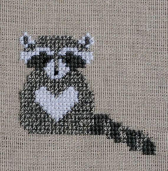 Raccoon Cross Stitch Pattern PDF Forest Animals by TheStitchStash