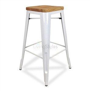 Tolix Premium 75cm Timber Seat Bar Stool in White