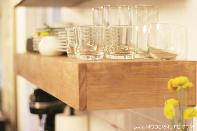 Were sharing how we made our heavy duty floating shelves in our kitchen. They are beautiful, functional, a strong!
