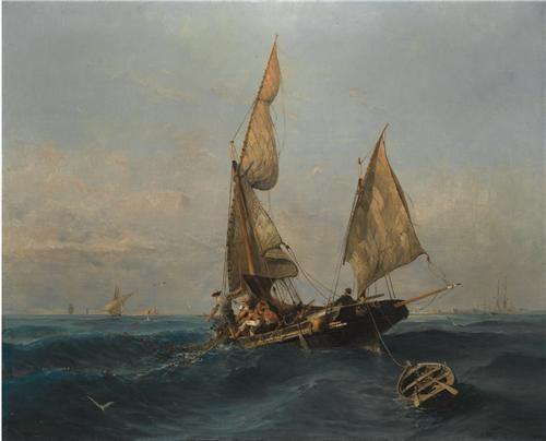 Fishing boat in choppy waters - Konstantinos Volanakis