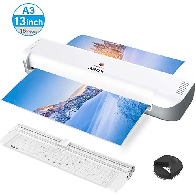Amazon Com Abox A3 Laminator Machine Thermal Laminating Machine Ol341 With 16 Pouches Portable Cutter Corner Rounder Laminated Machine Laminators Machine