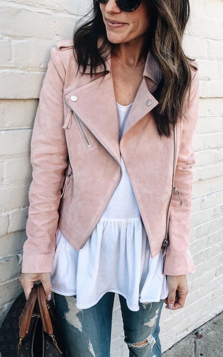#spring #outfits Pink Suede Jacket & White Blouse & Ripped Jeans