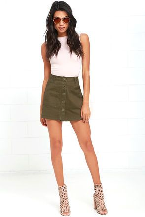 Rhythm Pacific Olive Green A-Line Skirt at Lulus.com!