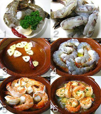① にんにくは薄切り。海老は殻をむいて背わたを取り除き、塩をふっておく。 ② カスエラ(または小フライパンや鍋)に、オリーブオイル、にんにく、赤唐辛子を入れて火にかける。 ③ にんにくがふつふつと軽く煮立ち、オイルに風味が移ったら、海老を入れ、揺すりながら弱火で両面に火を通し、最後にパセリを散らす。