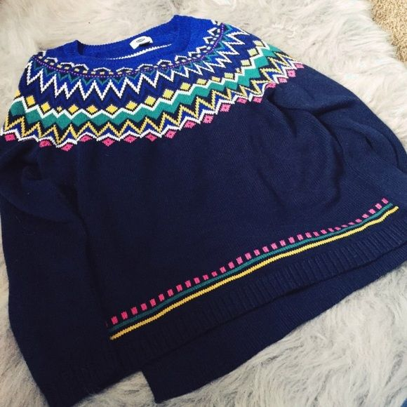 Old Navy Fair Isle Chevron Sweater 🆕 Old Navy fair isle sweater in navy blue. Brand new without tags, I just didn't like the way it fit me. Original price $39.94, sold out online. 🌸Cheaper through Depop! (account name @squidmaster).🌸 Old Navy Sweaters