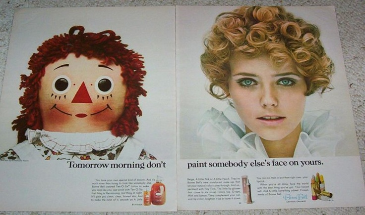 2-page ad for Bonne Bell with Cheryl Tiegs and Raggedy Ann, 1968