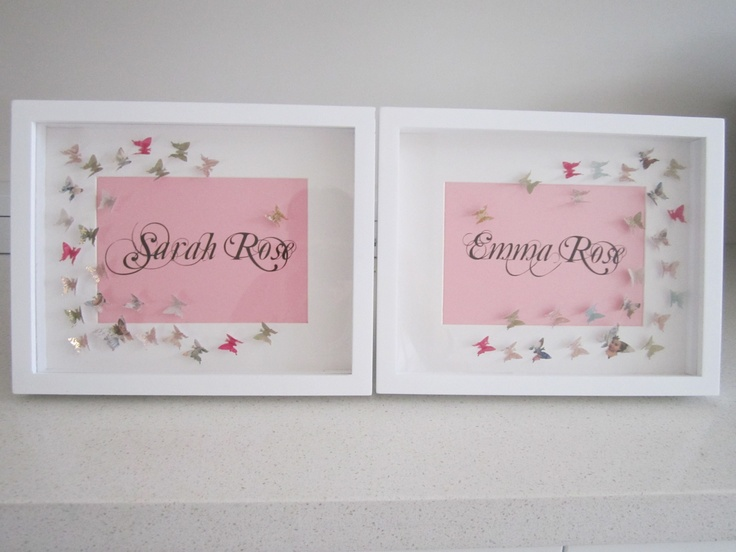 Gorgeous birth gift for twin girls by Loraine - beautifully framed name sakes.
