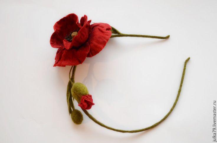 """Купить Ободок """"Красный мак"""" - ярко-красный, мак, маки, ободок для волос, обруч с цветами"""