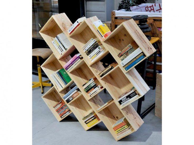 Biblioth que oblik wiithaa caisses en bois pinterest r utiliser - Bibliotheque caisse bois ...