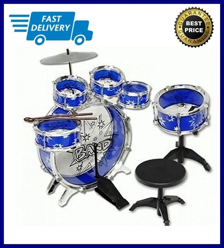 Kids Drums 11pc Junior Drum Set With Sticks And Cymbal Blue Toy Sale NEW  #Apontus