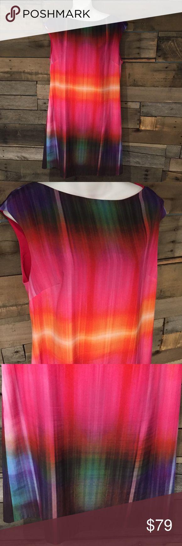 "Donna Morgan dip dye rainbow Shift dress. Size 14 Like new Donna Morgan dip dye rainbow sleeveless Shift dress. Size 14. 35"" long. Super soft polyester. Donna Morgan Dresses"