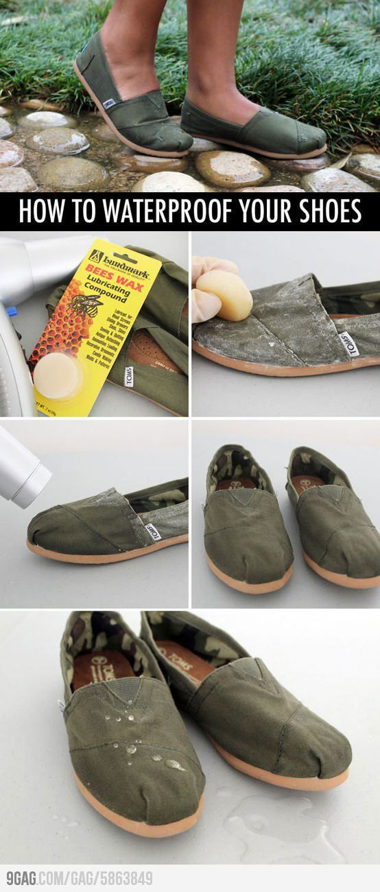 How to waterproof your shoes. - rub beeswax all over the fabric then apply heat to melt into the fibers
