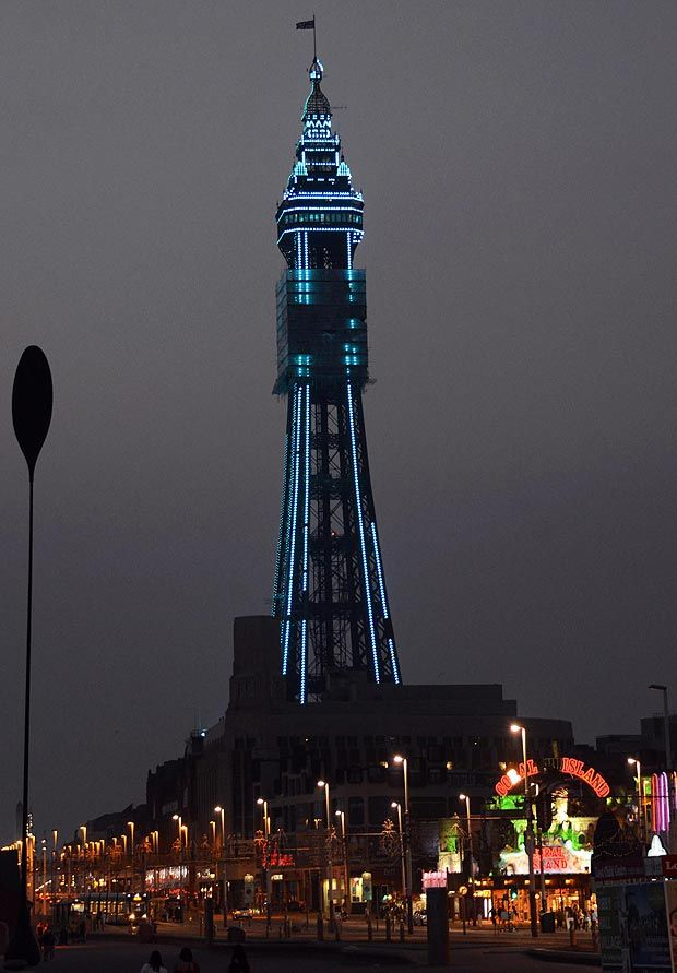 Royal blue ... Blackpool Tower changes colour for the occasion of Prince George's birth