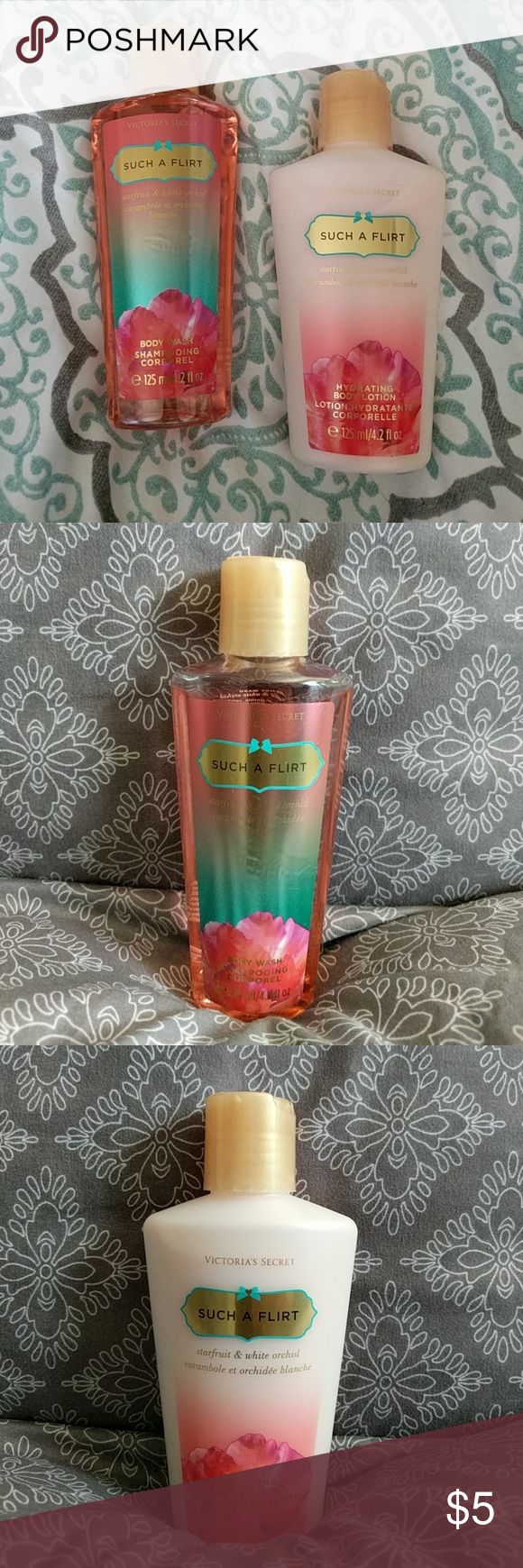 Victoria's Secret Such A Flirt Travel Size Bundle Condition: Used. Each one was only used once or twice, so they are just under full.  NOTICE: If you believe your bundle might weigh more than 5 LBS, please ask me to weigh it before you purchase. I can not pay the added shipping cost for bundles over 5 LBS.   Includes both items pictured! Victoria's Secret Other