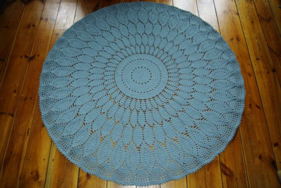 Crochet doily round rug 73''186 cmMade to by AnuszkaDesign on Etsy, $180.00