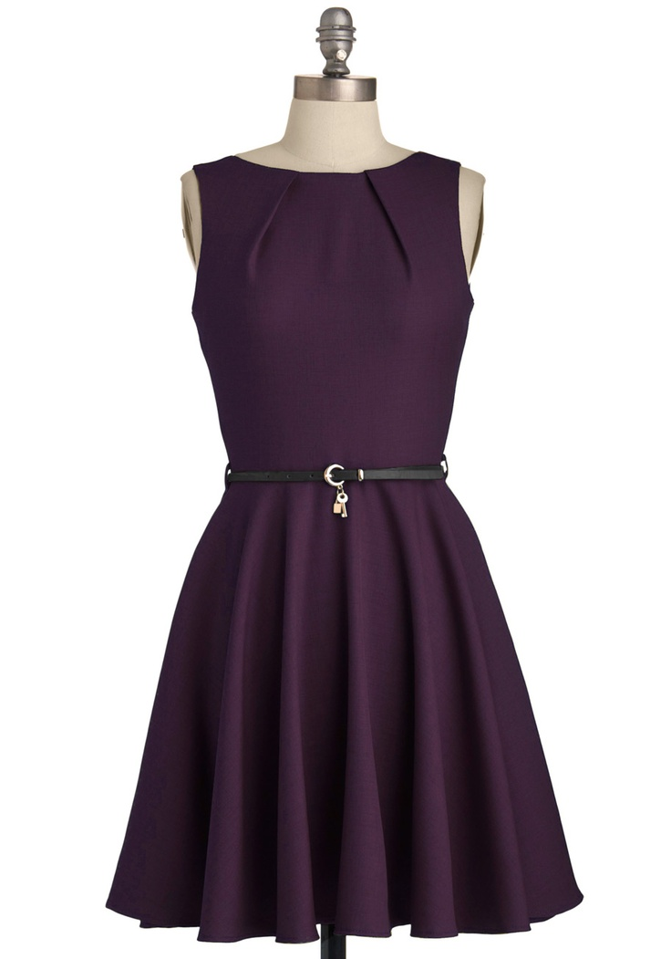Luck Be a Lady Dress in Violet - Purple, Solid, Belted, A-line, Sleeveless, Exposed zipper, Pockets, Boat, Mid-length, Party, Casual