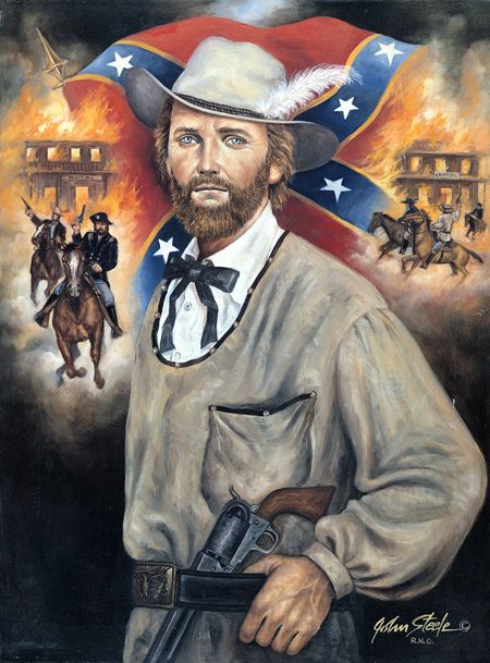 *WILLIAM CLARKE QUANTRIL~Leader of perhaps the most savage fighting unit in the Civil War,Quantrill developed a style of guerrilla warfare that terrorized civilians+ soldiers alike.He travelled toUtah in1858 w/an army wagon train+there made his living as a gambler,using the alias of CharlesHart.After a yr, he moved to Lawrence,KS.But his past+predisposition soon caught up w/him+wanted for murder+ horse theft,Quantrill fled to MO in late 1860.