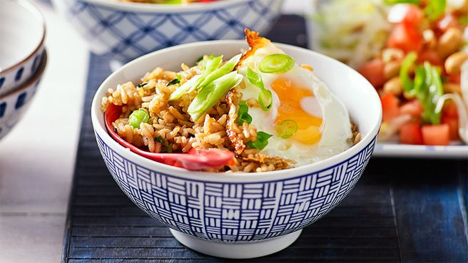 Nasi goreng: This colourful mix of rice, coriander, chilli, egg and shallot will brighten up your midweek menu.