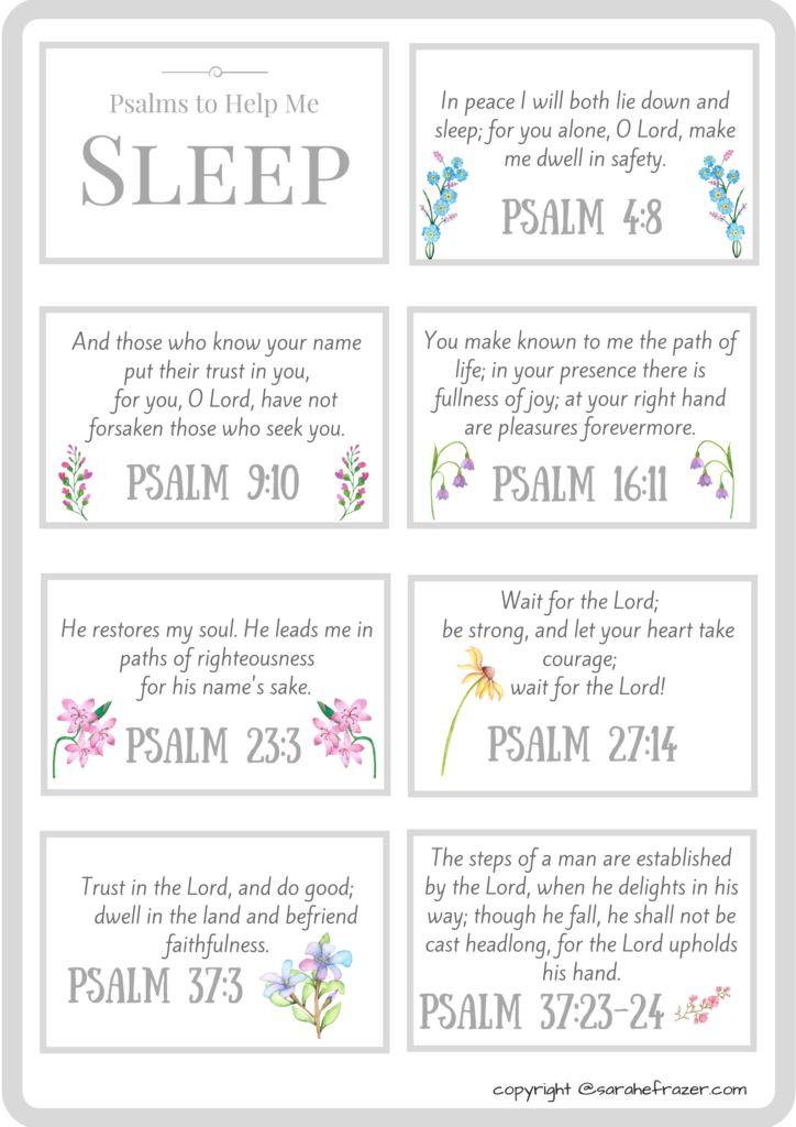FREE PRINTABLE! Psalms to Help You Fall Asleep - Sarah E. Frazer