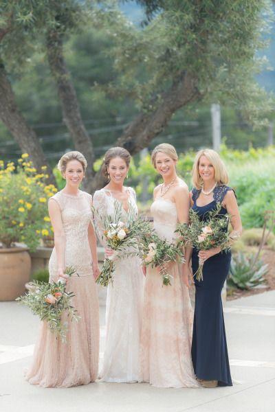 Elegant bridal party: http://www.stylemepretty.com/california-weddings/carmel-valley/2014/10/22/rainy-spring-wedding-at-holman-ranch/ | Photography: Stacey Pentland - http://www.staceypentlandphoto.com/