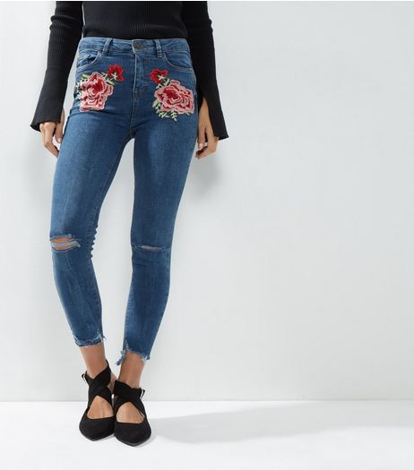 Blue Floral Embroidered Ripped Knee Skinny Jenna Jeans    New Look