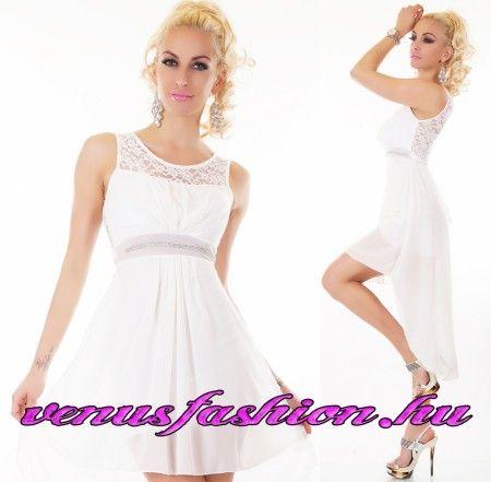 Elegáns alkalmi fehér csipkés sifon női ruha
