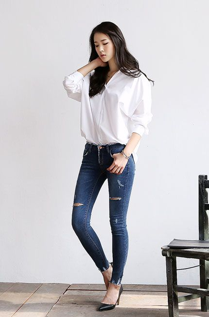 White Blouse Jeans Black Heels My Mode Pinterest