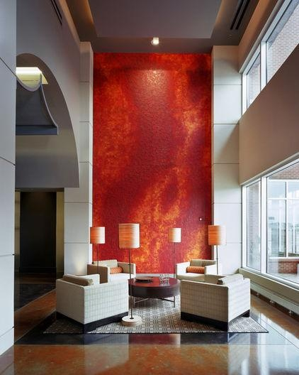 Wall Mural creates a bright blast of color and a strong focal point