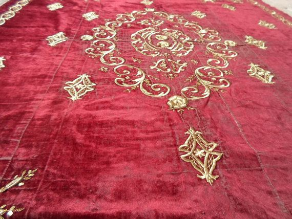 VintageTurkish antique Ottoman hand embroidered by ArasCarpet