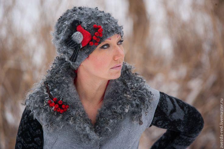 """Купить шапка валяная"""" Морозные узоры"""" - серый, шапка, валяная шапка, снегирь"""