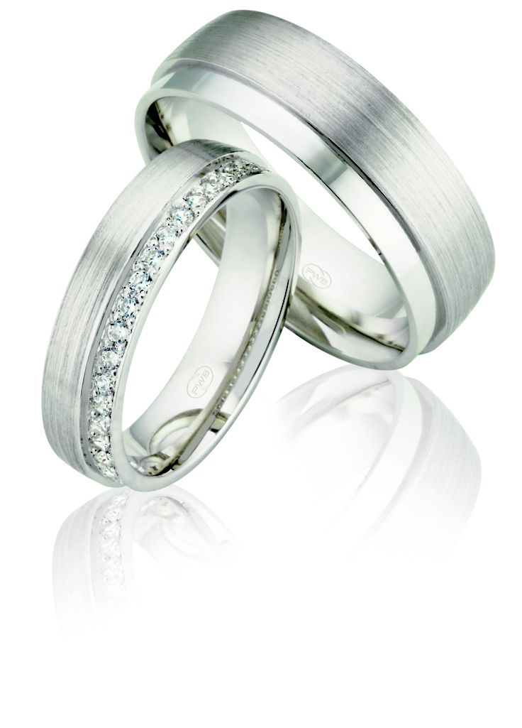 White gold and diamond matching his and her wedding rings