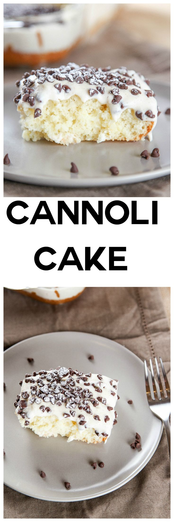 Cannoli Cake with Cannoli Cream Frosting: Moist melt in your mouth cake topped with a decadent cannoli cream frosting. Your favorite Italian dessert in cake form!
