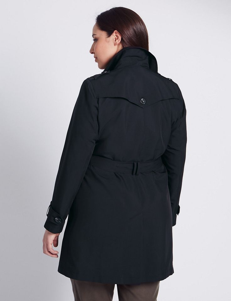 MAC with Stormwear ~ Size 16 ~ BLACK M/&S AUTOGRAPH Long BELTED TRENCH COAT