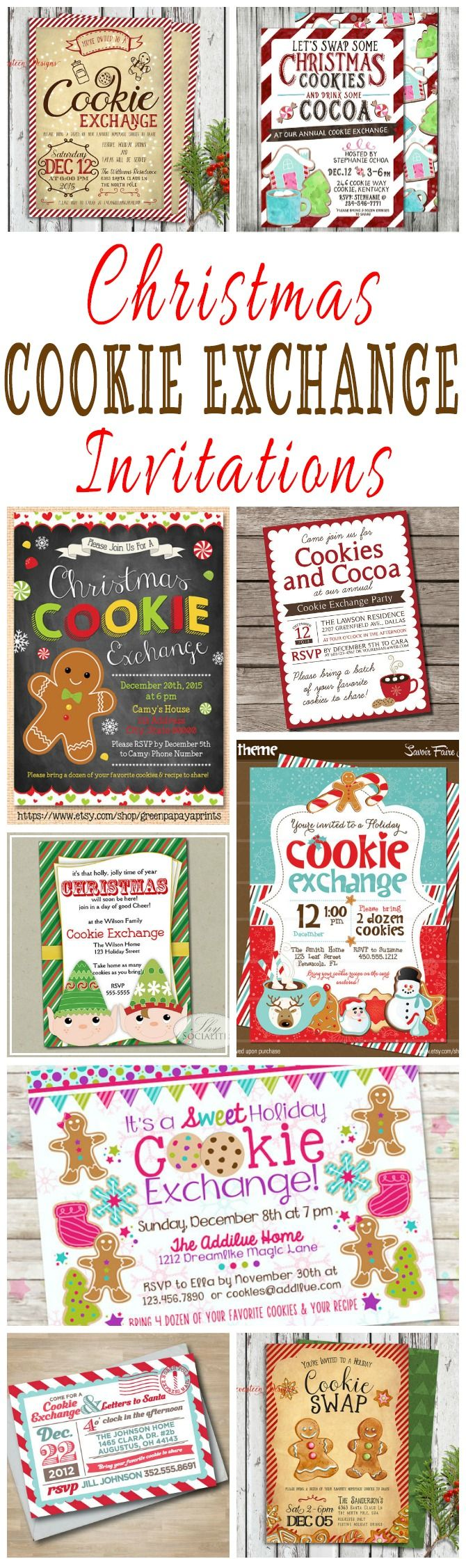 25 DIY Printable Christmas Cookie Exchange Party Invitations